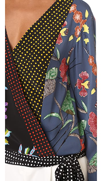 Diane von Furstenberg Long Sleeve Crossover Blouse
