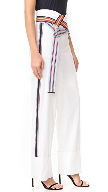 Diane von Furstenberg Wide Leg Ribbon Pants