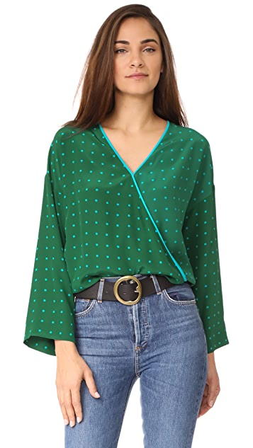Diane von Furstenberg Wide Sleeve Cross Over Blouse