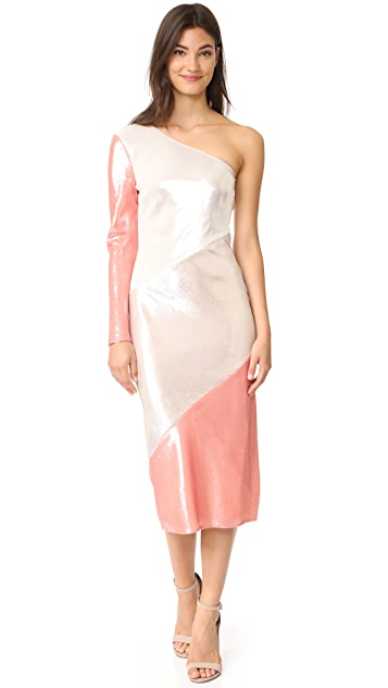 Diane von Furstenberg One Shoulder Bias Midi Dress