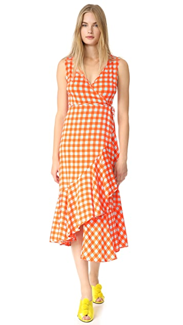 Diane von Furstenberg Sleeveless Asymmetrical Ruffle Hem Dress