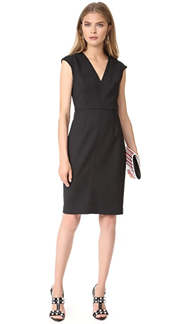 Diane von Furstenberg Cap Sleeve V Neck Dress