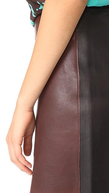 Diane von Furstenberg Jenny Leather Miniskirt