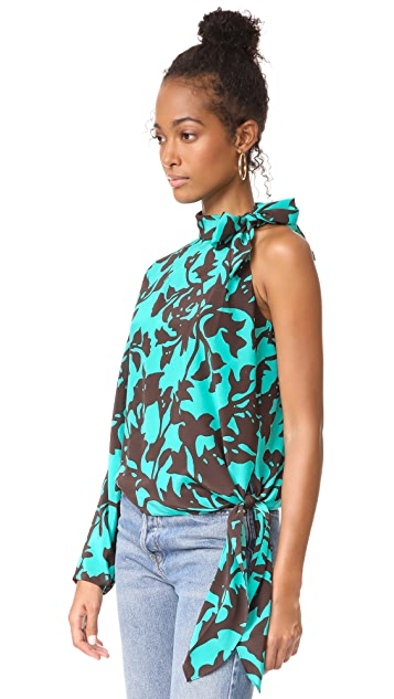 Diane von Furstenberg One Shoulder Knotted Blouse