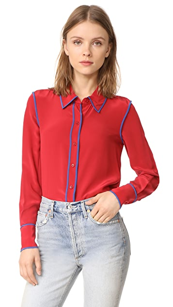 Diane von Furstenberg Button Collared Blouse