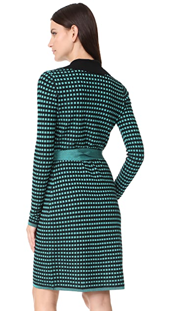 Diane von Furstenberg Banded Knit Wrap Dress