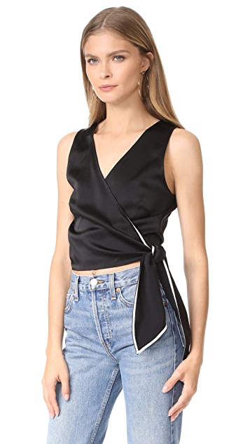 Diane von Furstenberg Sleeveless Cropped Wrap Top