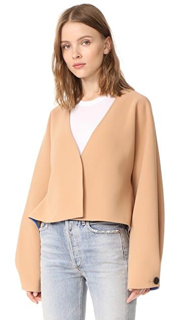 Diane von Furstenberg Cropped Button Up Jacket