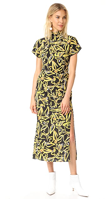 Diane von Furstenberg S / S Side Slit High Neck Dress