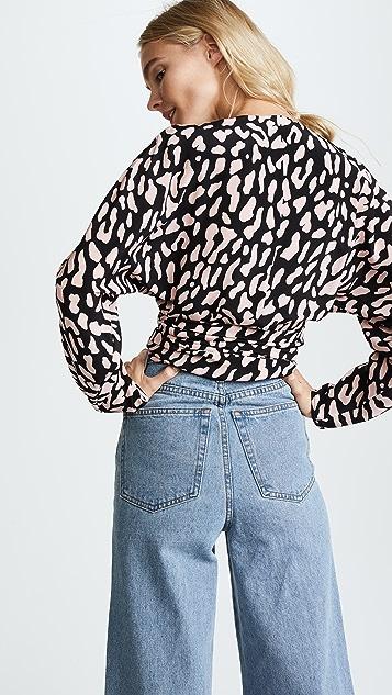 Diane von Furstenberg V Neck Wrap Blouse