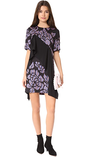 Diane von Furstenberg Short Sleeve Ruffle Front Mini Dress