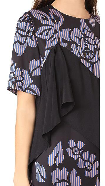 Diane von Furstenberg Short Sleeve Ruffle Front Mini Dress