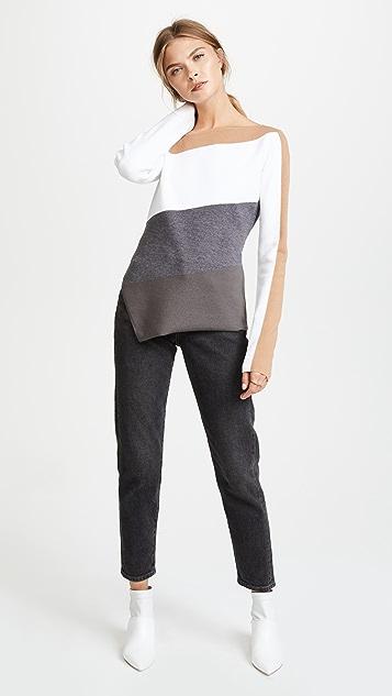 Diane von Furstenberg Asymmetrical Neckline Knit Top