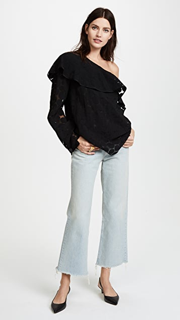 Diane von Furstenberg One Shoulder Ruffle Front Top