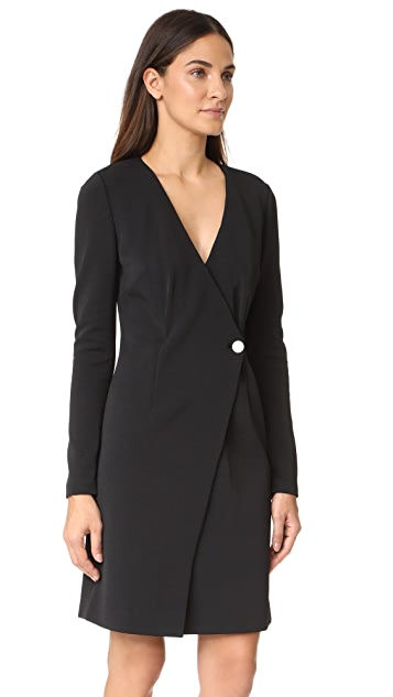 Diane von Furstenberg L/S V-Neck Side Button Dress