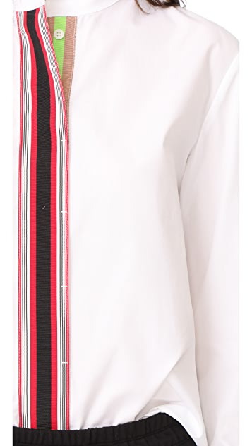 Diane von Furstenberg Stripe Placket Button Down Top