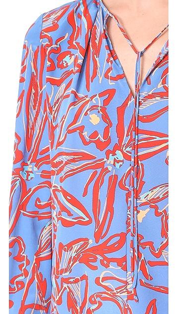 Diane von Furstenberg Tie Front Keyhole Blouse