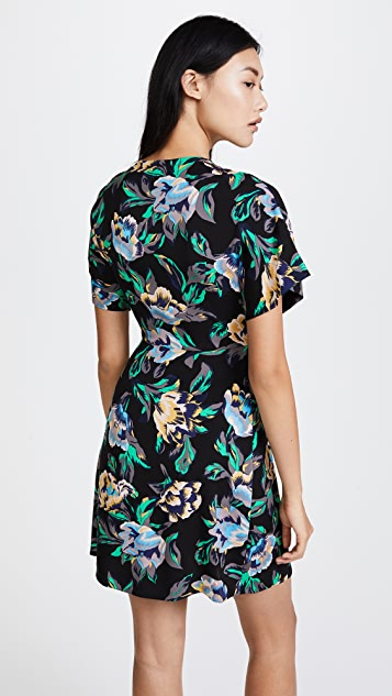 Diane von Furstenberg Short Sleeve V Neck Flare Mini Dress