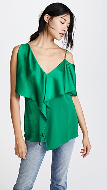 ruffle-front blouse - Green Area High Quality Sale Online For Nice Clearance Buy Discount With Paypal Bxccl6F