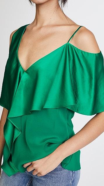 Diane von Furstenberg Asymmetrical Sleeve Ruffle Front Blouse