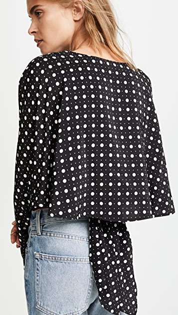 Diane von Furstenberg Long Sleeve Crossed Crop Top