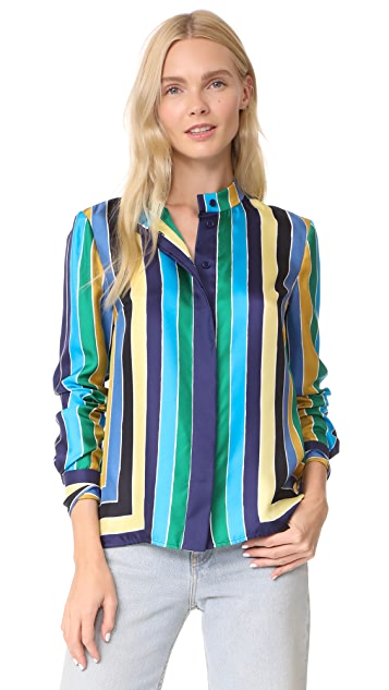 Diane von Furstenberg Cuffed Button Down Shirt