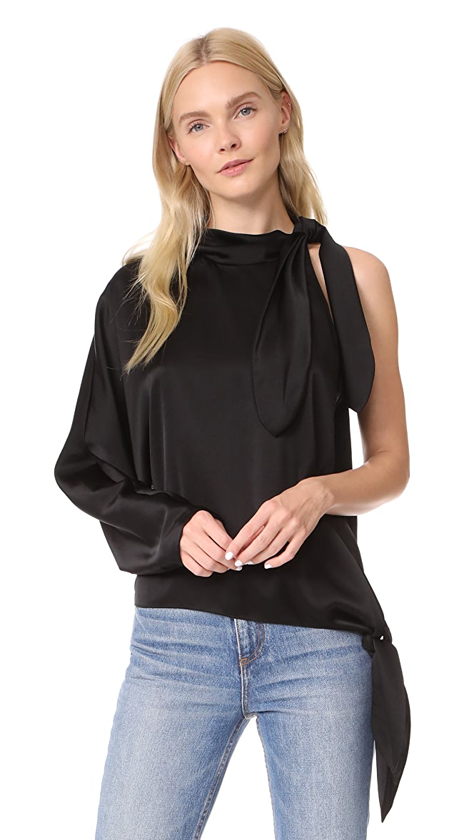 ad8cca0701c Diane von Furstenberg One Shoulder Knotted Blouse | SHOPBOP