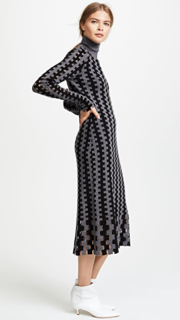 Diane von Furstenberg Turtleneck Knit Midi Dress