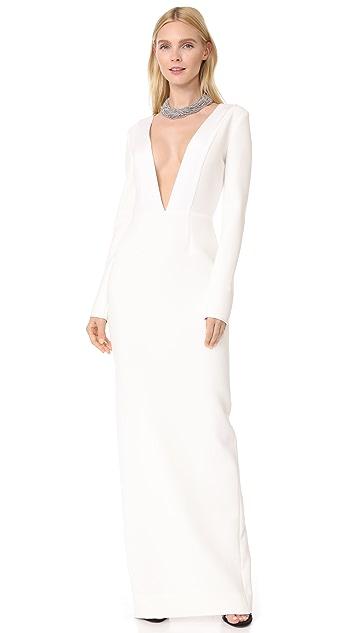 Diane von Furstenberg Deep V Tailored Gown