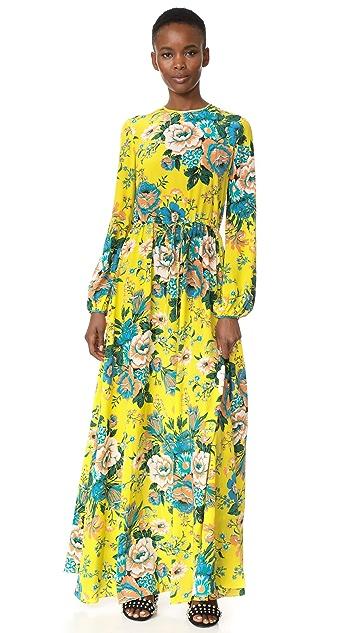 Diane von Furstenberg Длинное платье с округлым вырезом и длинными рукавами