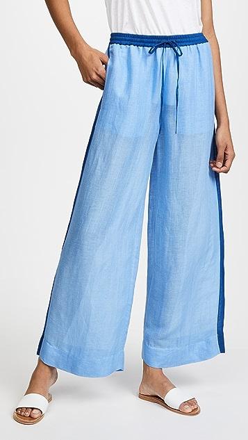Diane von Furstenberg Beach Linen Wide Leg Pants - Hydrangea/Ink