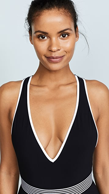 Diane von Furstenberg Deep V Neck One Piece