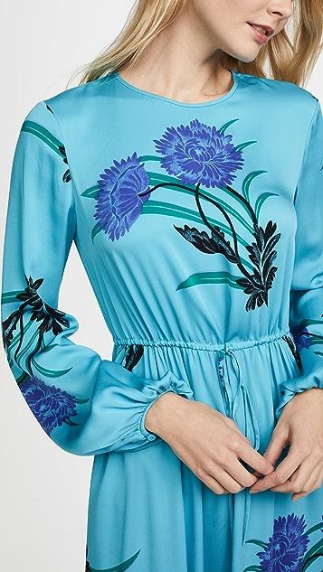Diane von Furstenberg Long Sleeve Crew Neck Floor Length Dress