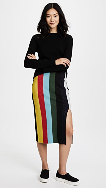 Diane von Furstenberg Midi Knit Metallic Pencil Skirt