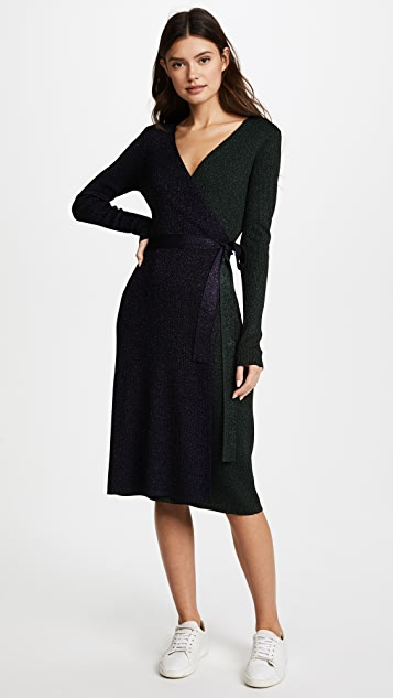 Diane von Furstenberg Metallic Wrap Dress