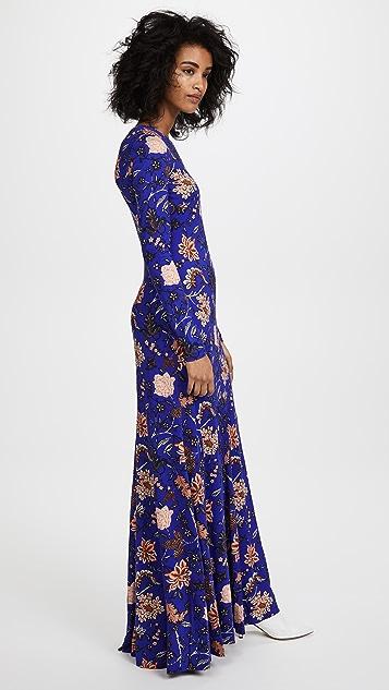 Diane von Furstenberg Long Sleeve Paneled Floor Length Dress