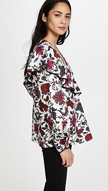 Diane von Furstenberg Long Sleeve Ruffle Front Blouse