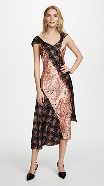 Diane von Furstenberg Cap Sleeve Bias Draped Dress