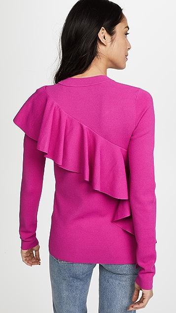 Diane von Furstenberg Long Sleeve Ruffle Front Sweater