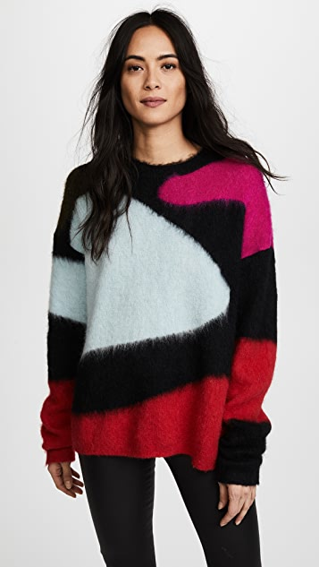 Diane von Furstenberg Crew Neck Intarsia Sweater - Duck Egg Multi