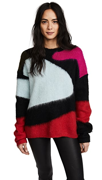 Diane von Furstenberg Crew Neck Intarsia Sweater