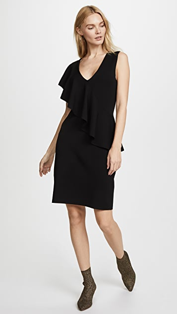 Diane von Furstenberg Sleeveless Asymmetric Ruffle Front Dress