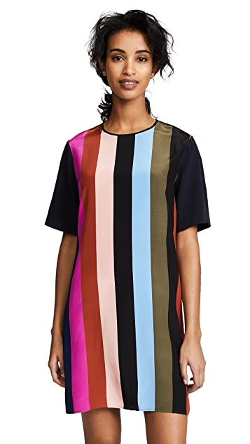 Diane von Furstenberg Short Sleeve Mini Fluid Dress