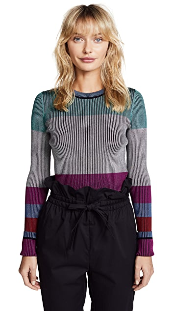 Diane von Furstenberg Long Sleeve Cropped Plaited Pullover