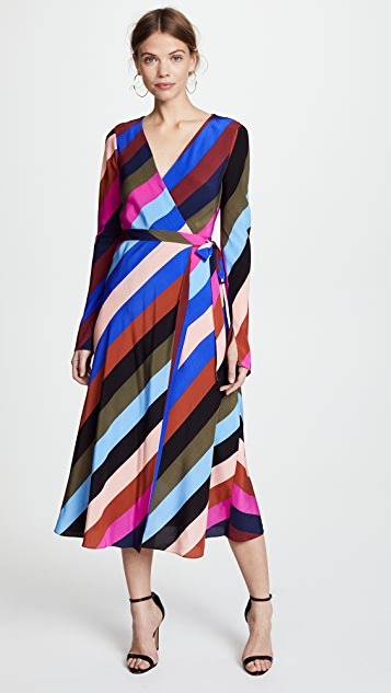 Diane von Furstenberg Midi Wrap Dress - Carson Stripe/Multi