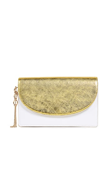 Diane von Furstenberg Saddle Metallic Evening Clutch