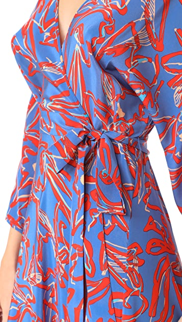 Diane von Furstenberg L/S Asymmetric Hem Dress