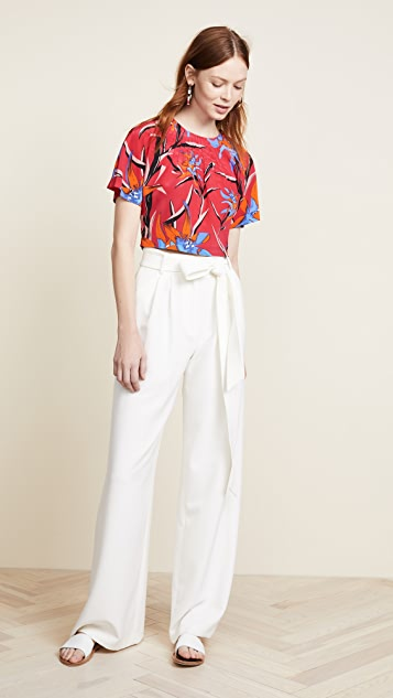 Diane von Furstenberg Pin Tuck Crop Top