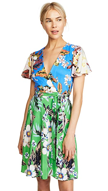 Diane von Furstenberg Flutter Sleeve Front Tie Dress