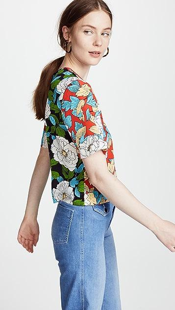 Diane von Furstenberg Cropped Tee - Boswell Poppy Multi